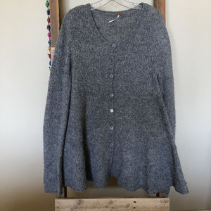 Free People Ruffled Cardigan Sweater Large CHEAP